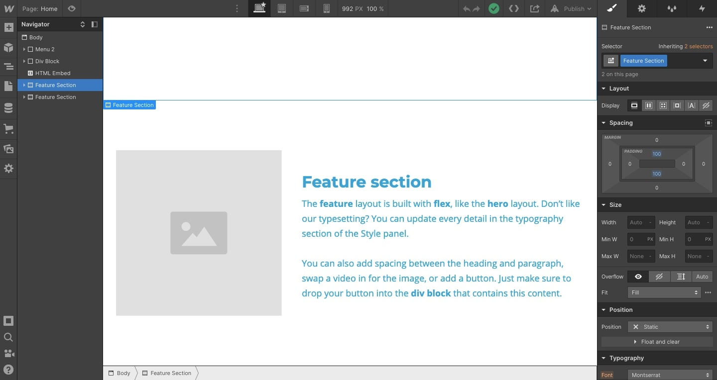 An image of a Feature section in the Webflow Editor.