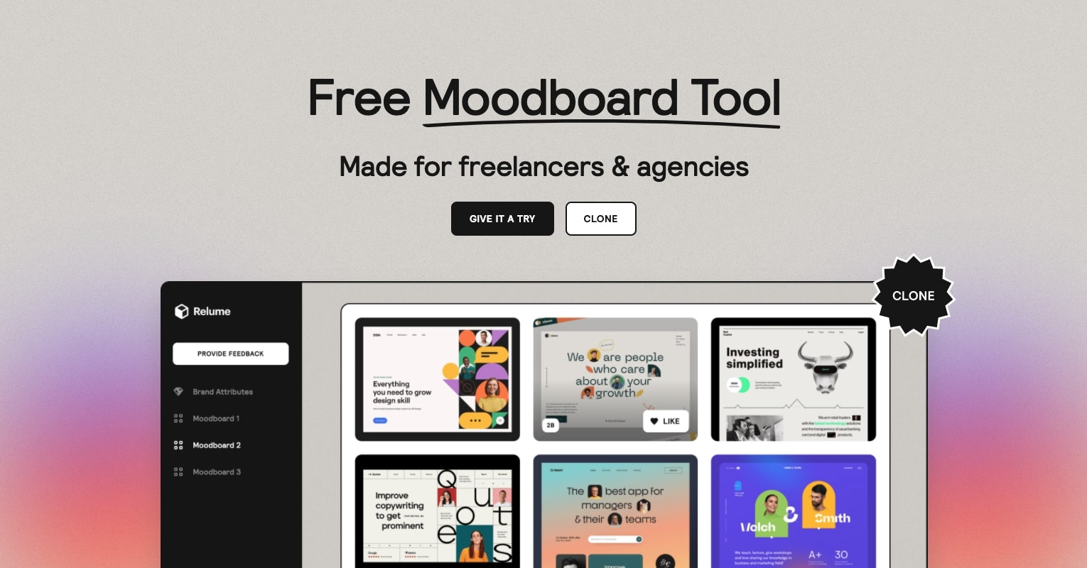 An image of Relume's Moodboard Tool landing page.