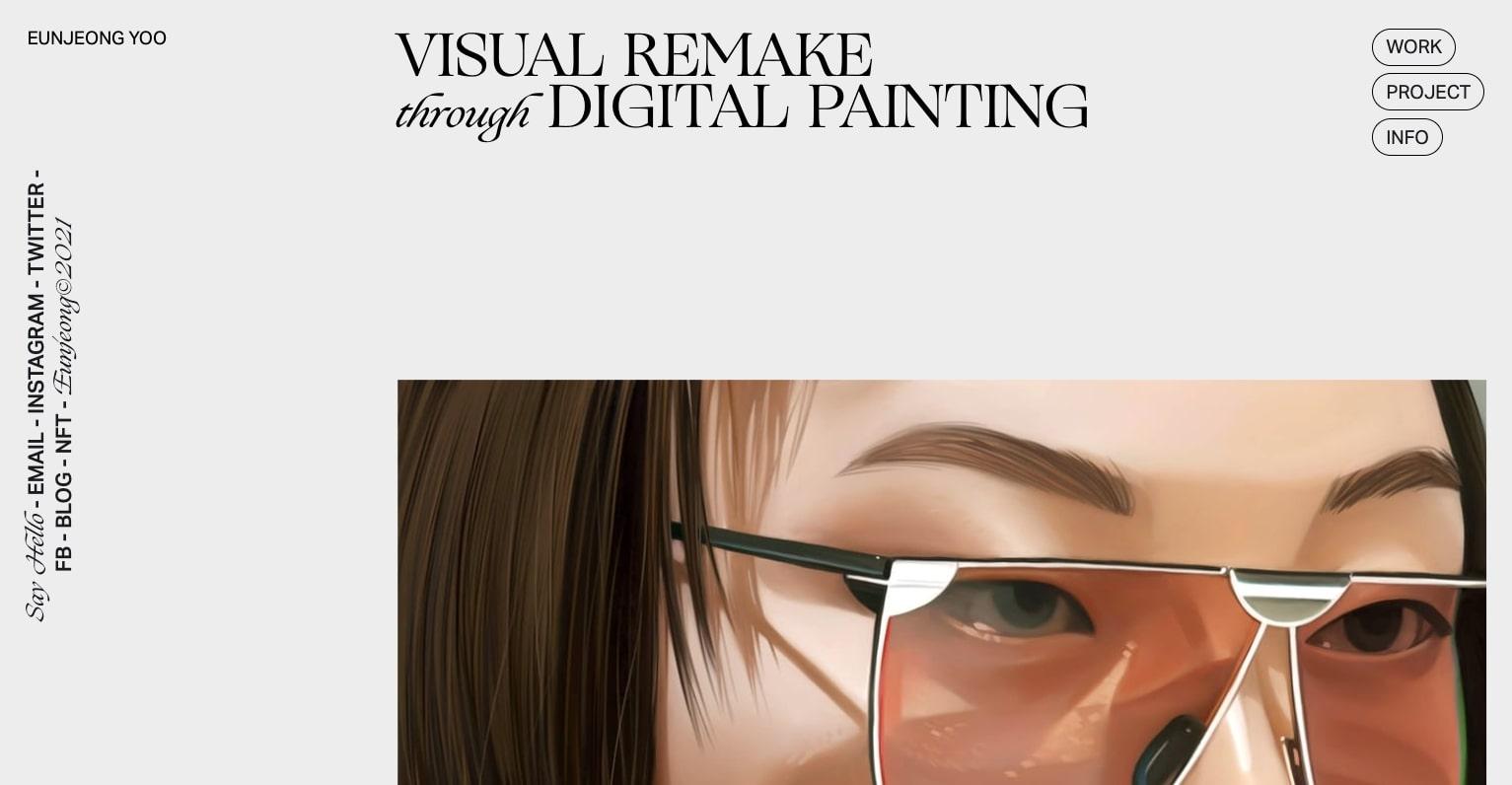 An image of EunJeong Yoo's new portfolio website.
