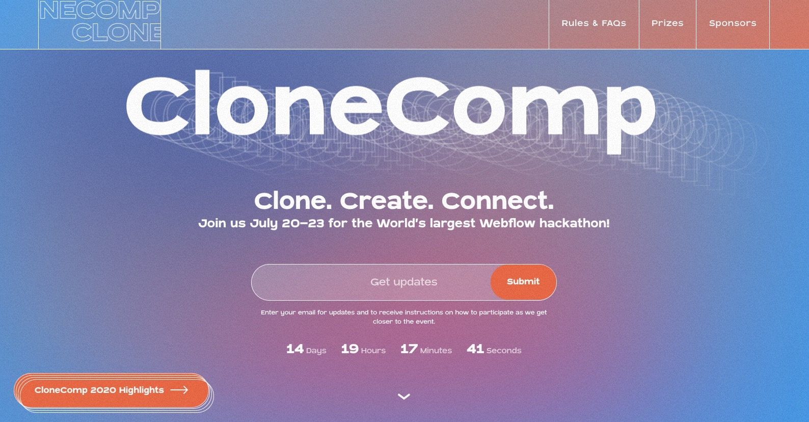 An image of the CloneComp website.