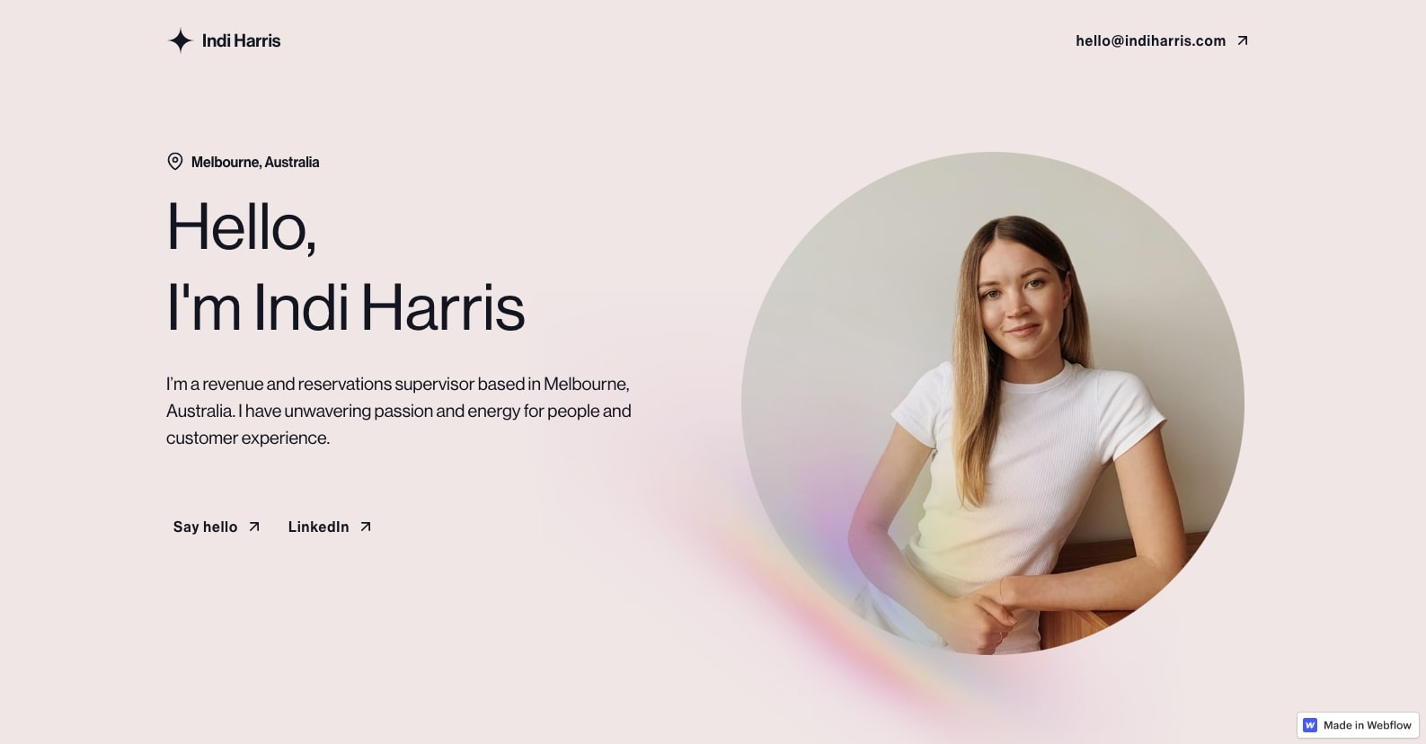 An image of Indi Harris' personal website.