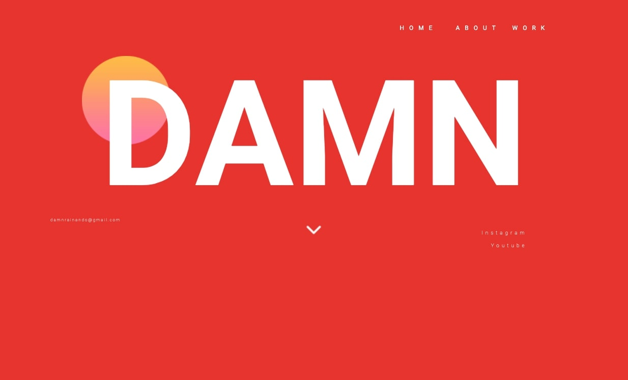 """An image of the """"damn"""" website homepage."""