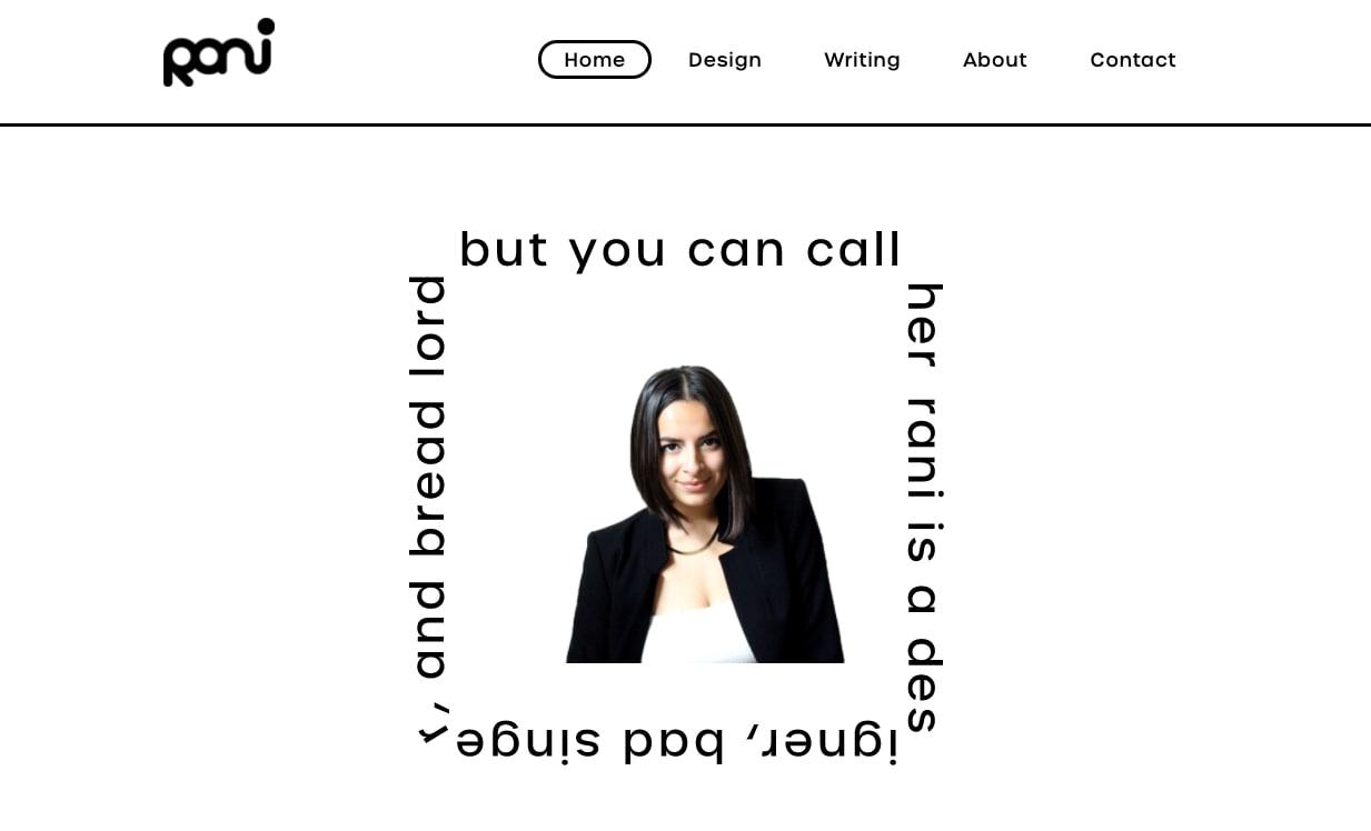 An image of Rani Vestal's portfolio home page.