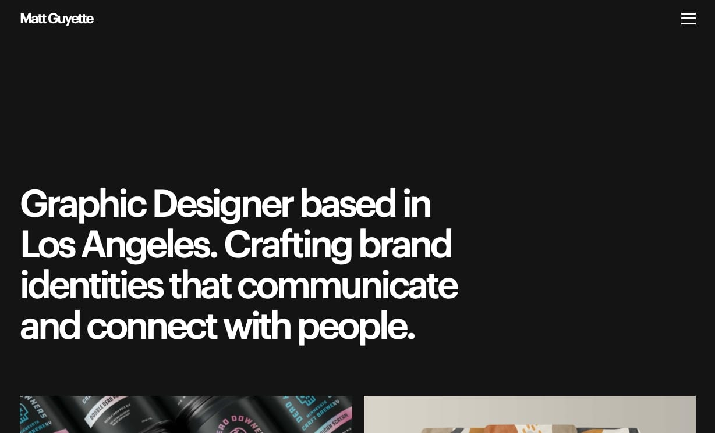An image of Matt Guyette's portfolio home page.
