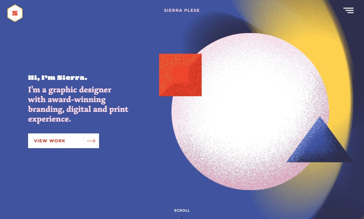 An image of Sierra Plese's portfolio home page.