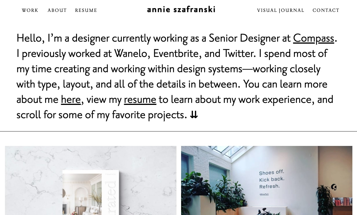 An image of Annie Szafranski's portfolio.