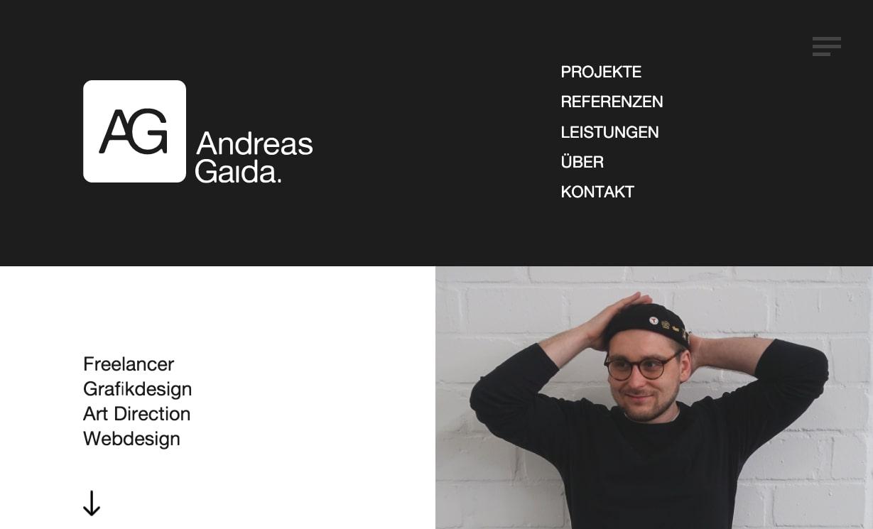 An image of Andreas Gaida's portfolio.