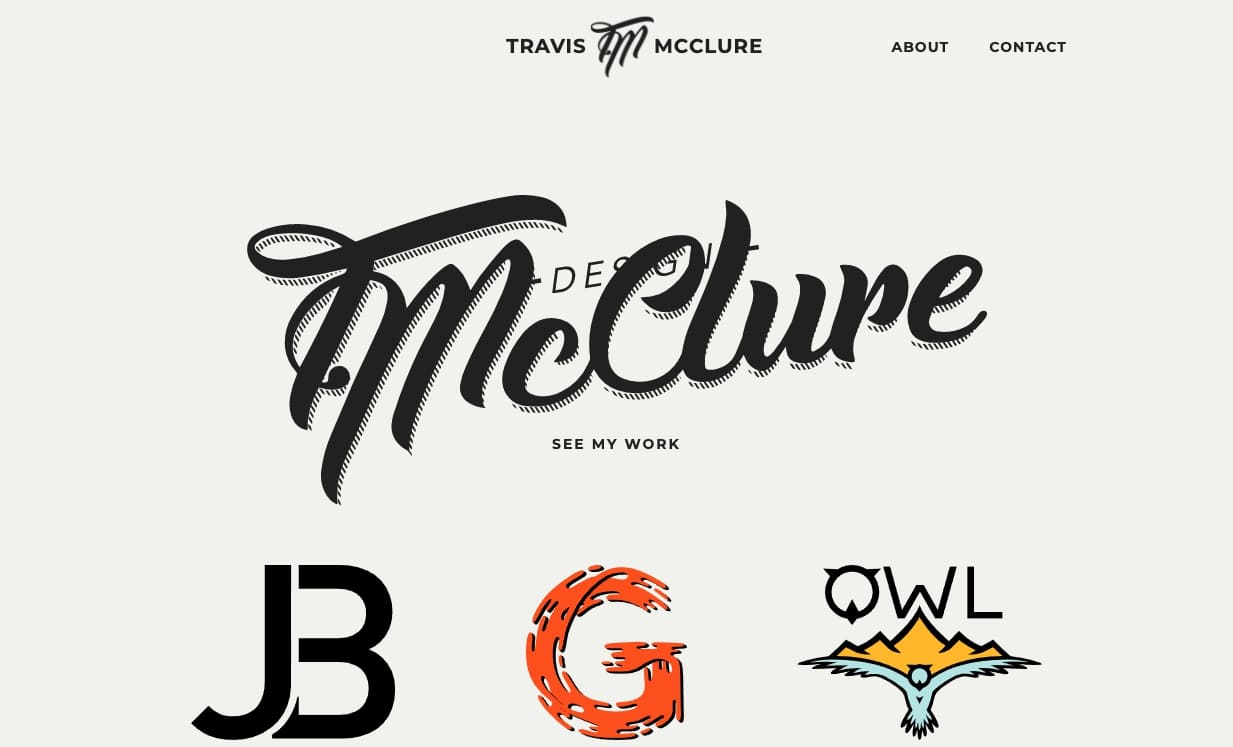 An image of Travis McClure's website.
