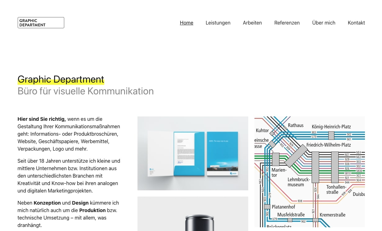 An image of the Graphic Department's website.