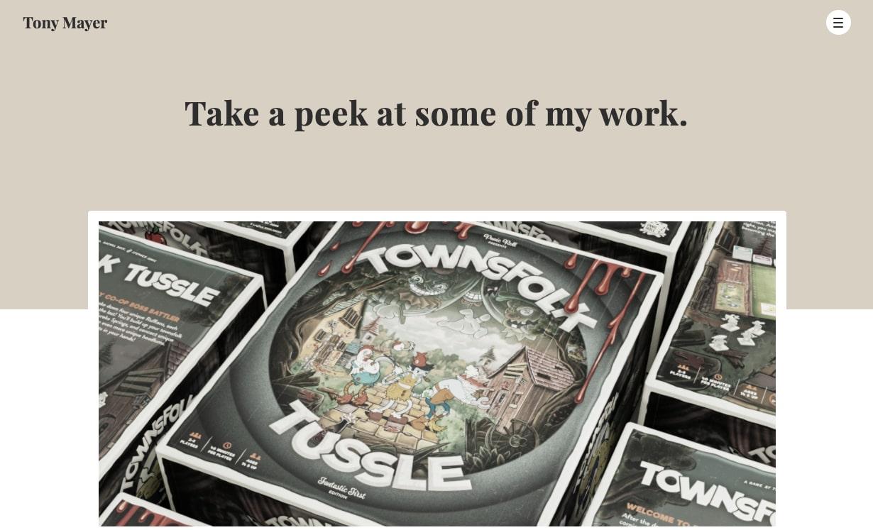 An image of Tony Mayer's website.