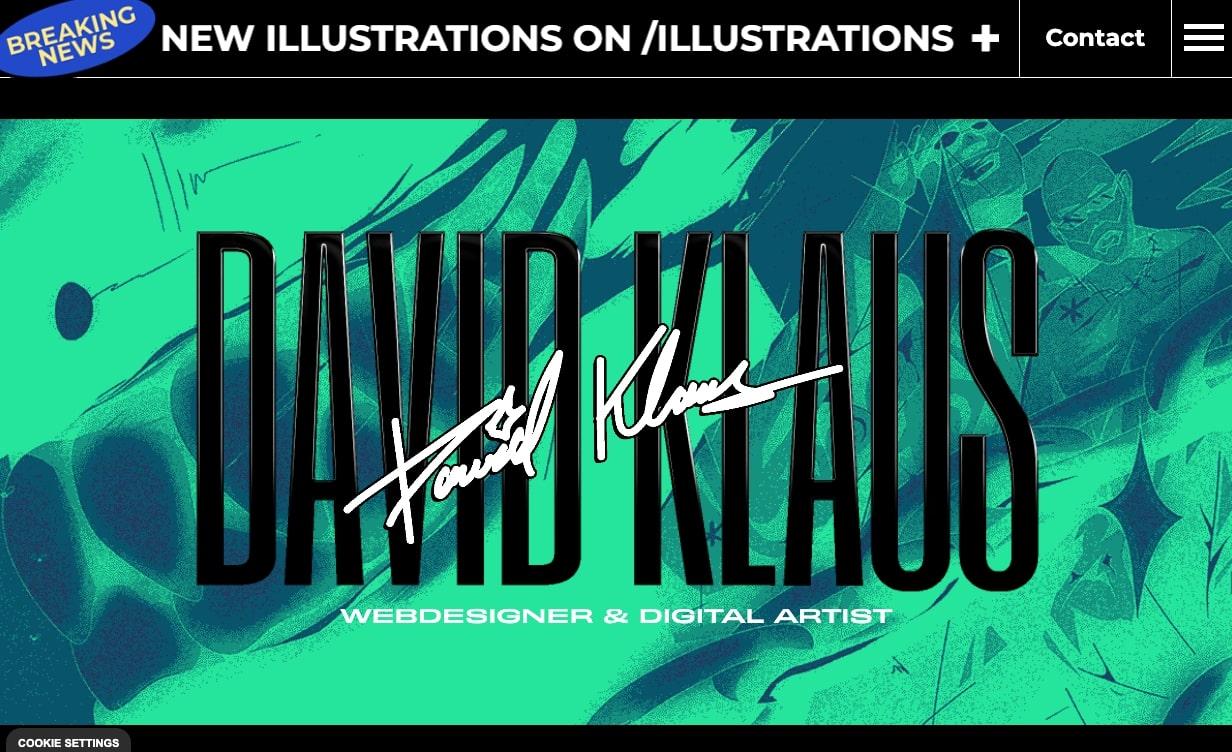 An image of David Klaus' website.