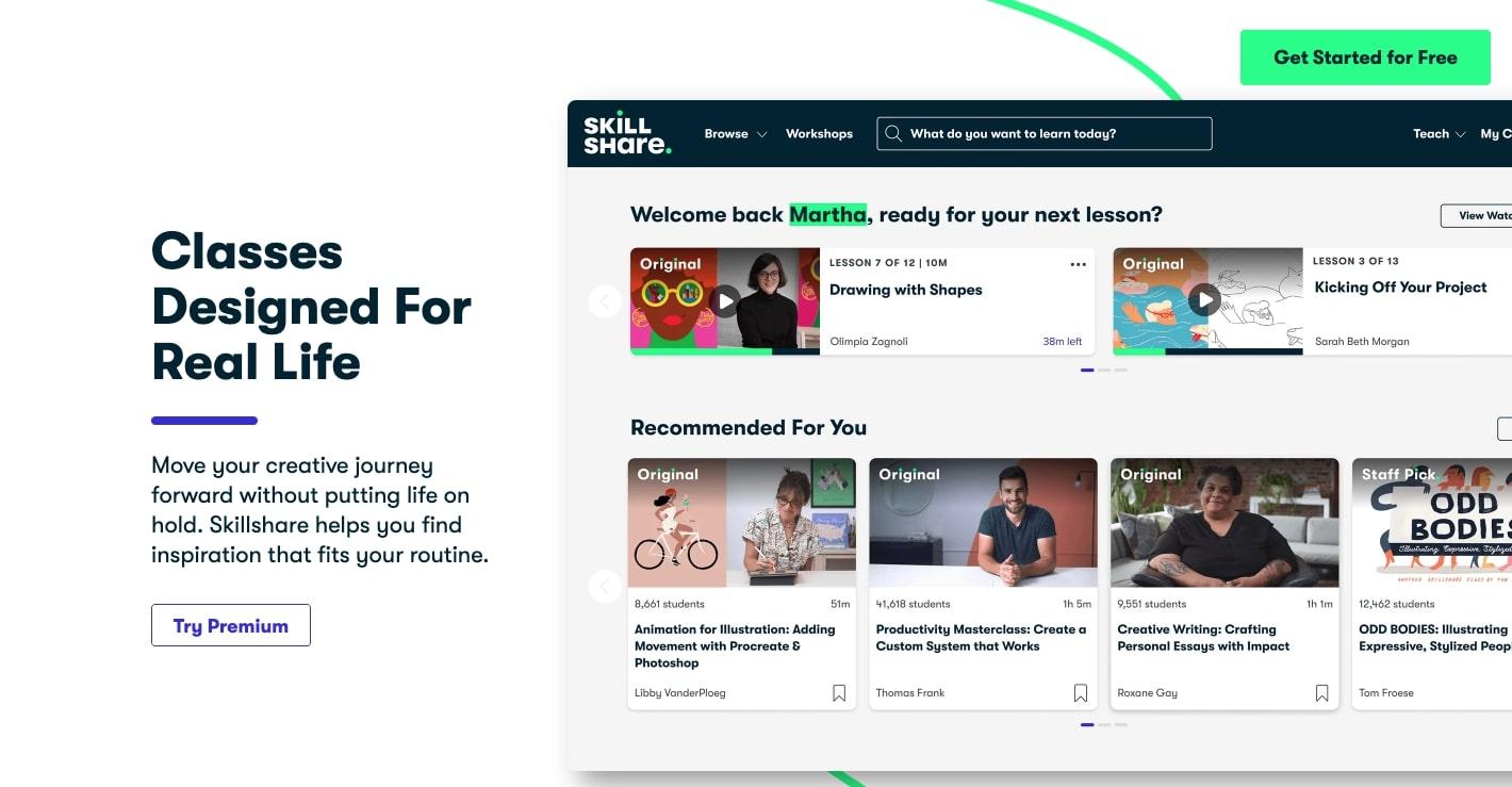 An image of the Skillshare website.