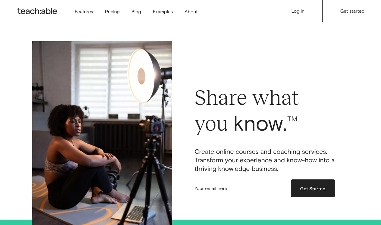 An image of the Teachable website.