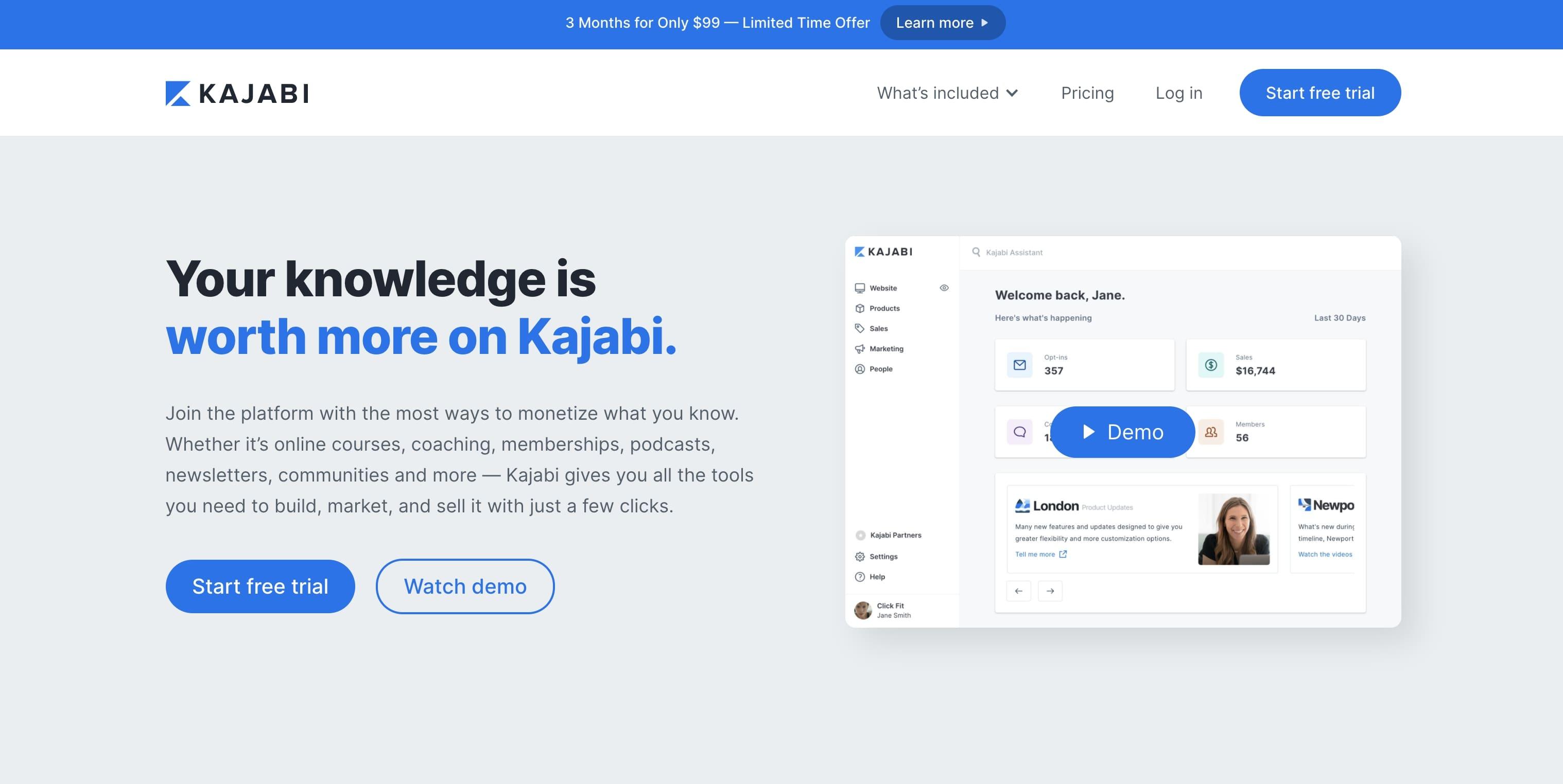 An image of the Kajabi website.