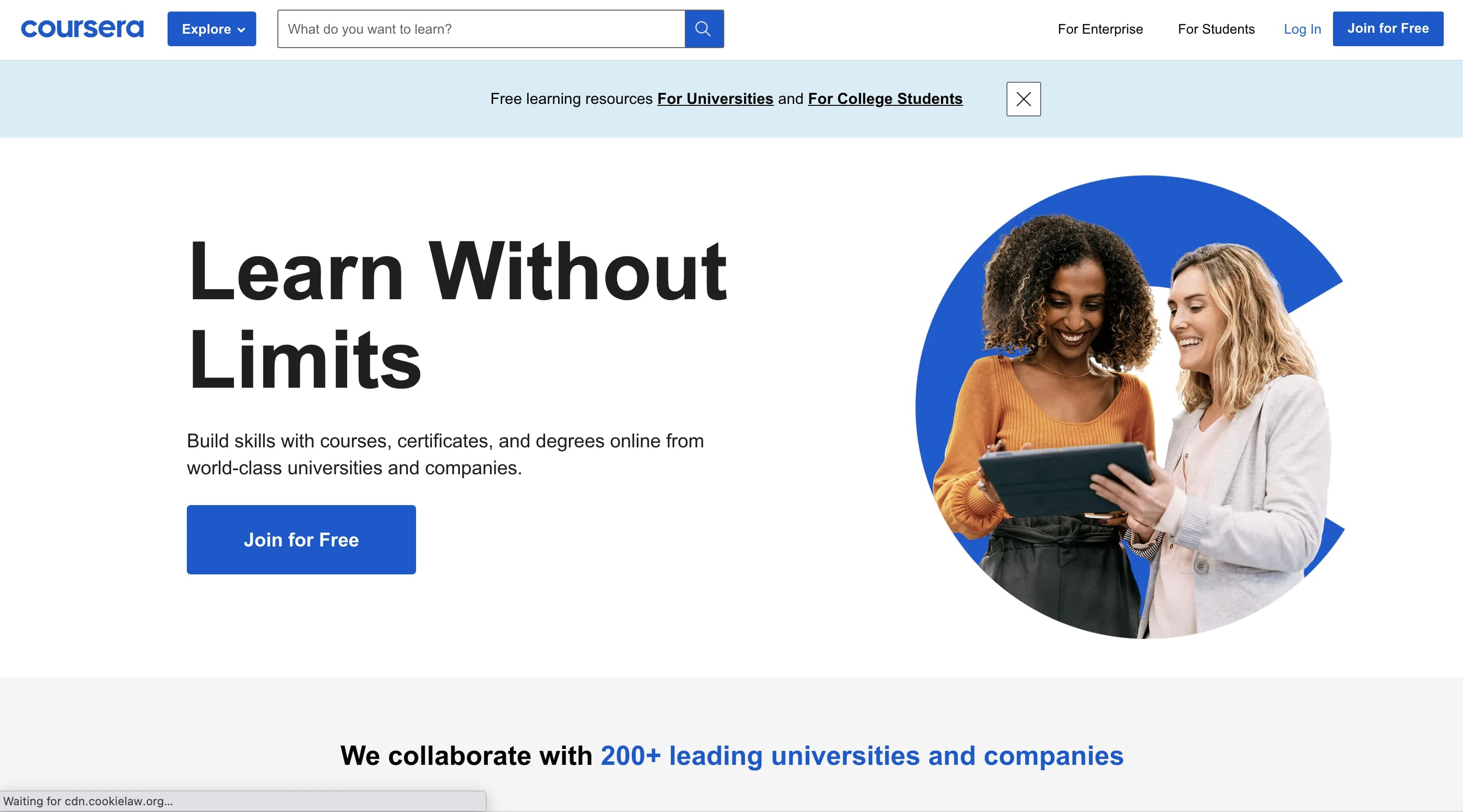 An image of the Coursera website.