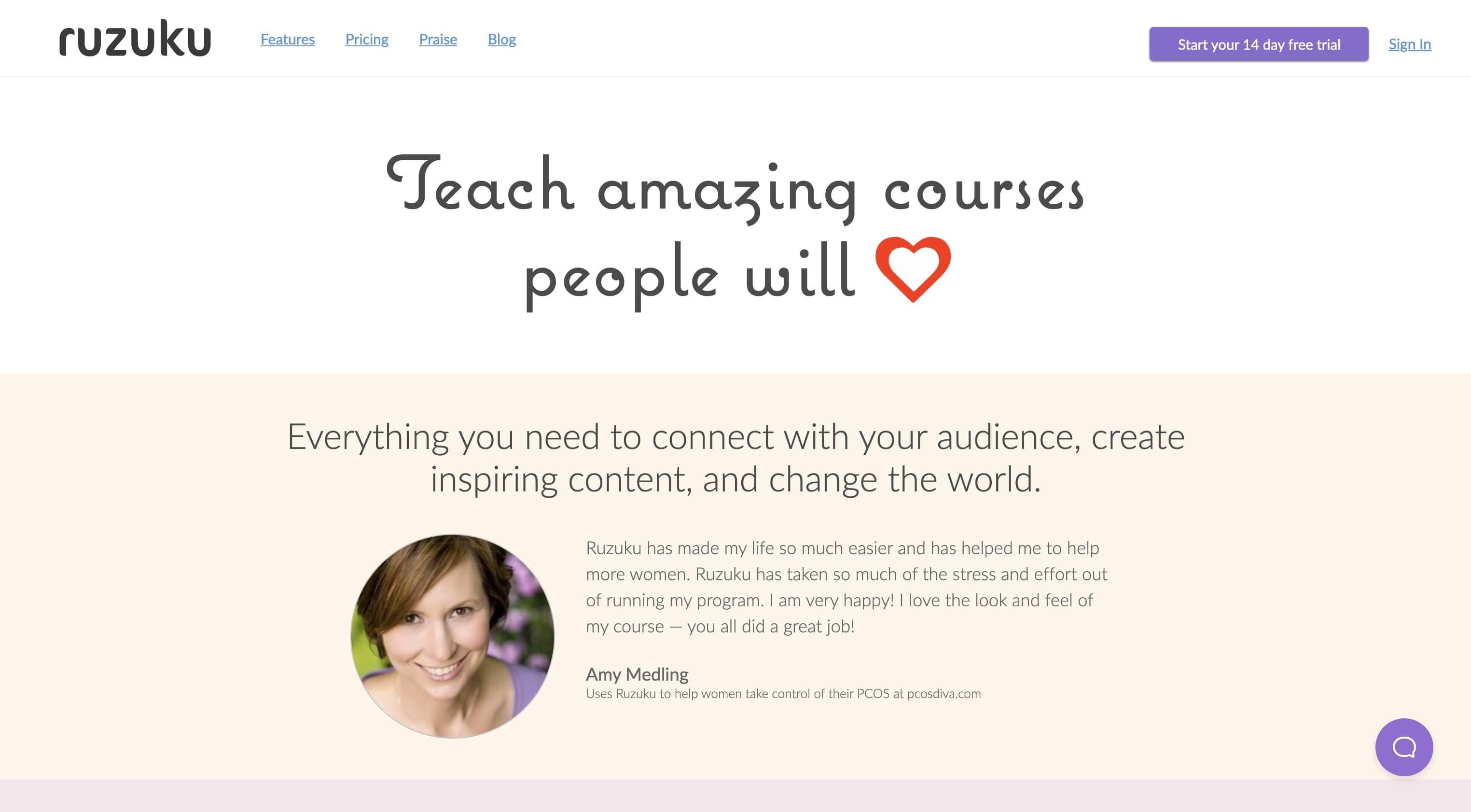 An image of the Ruzuku website.