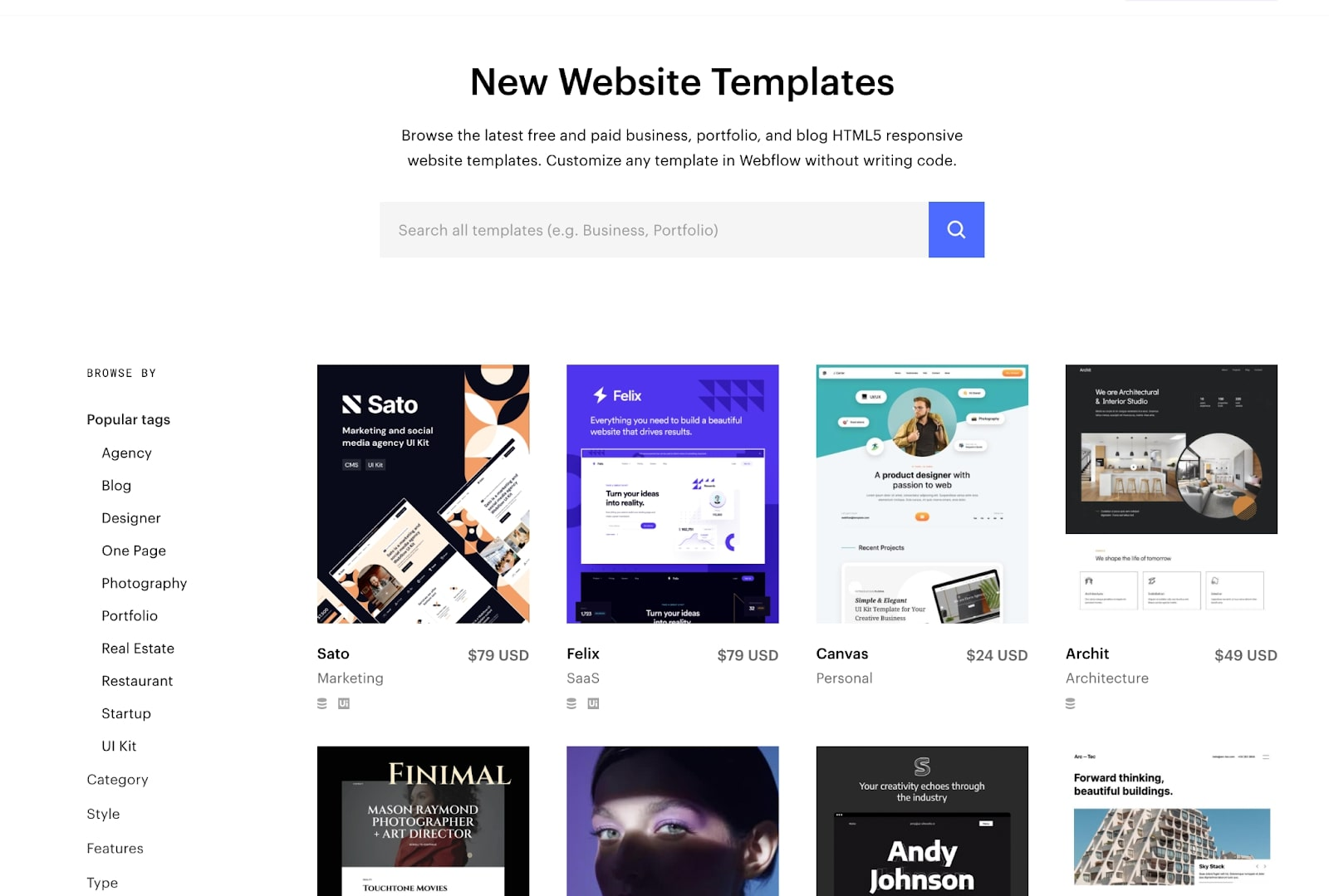 Catalog of website templates with search bar