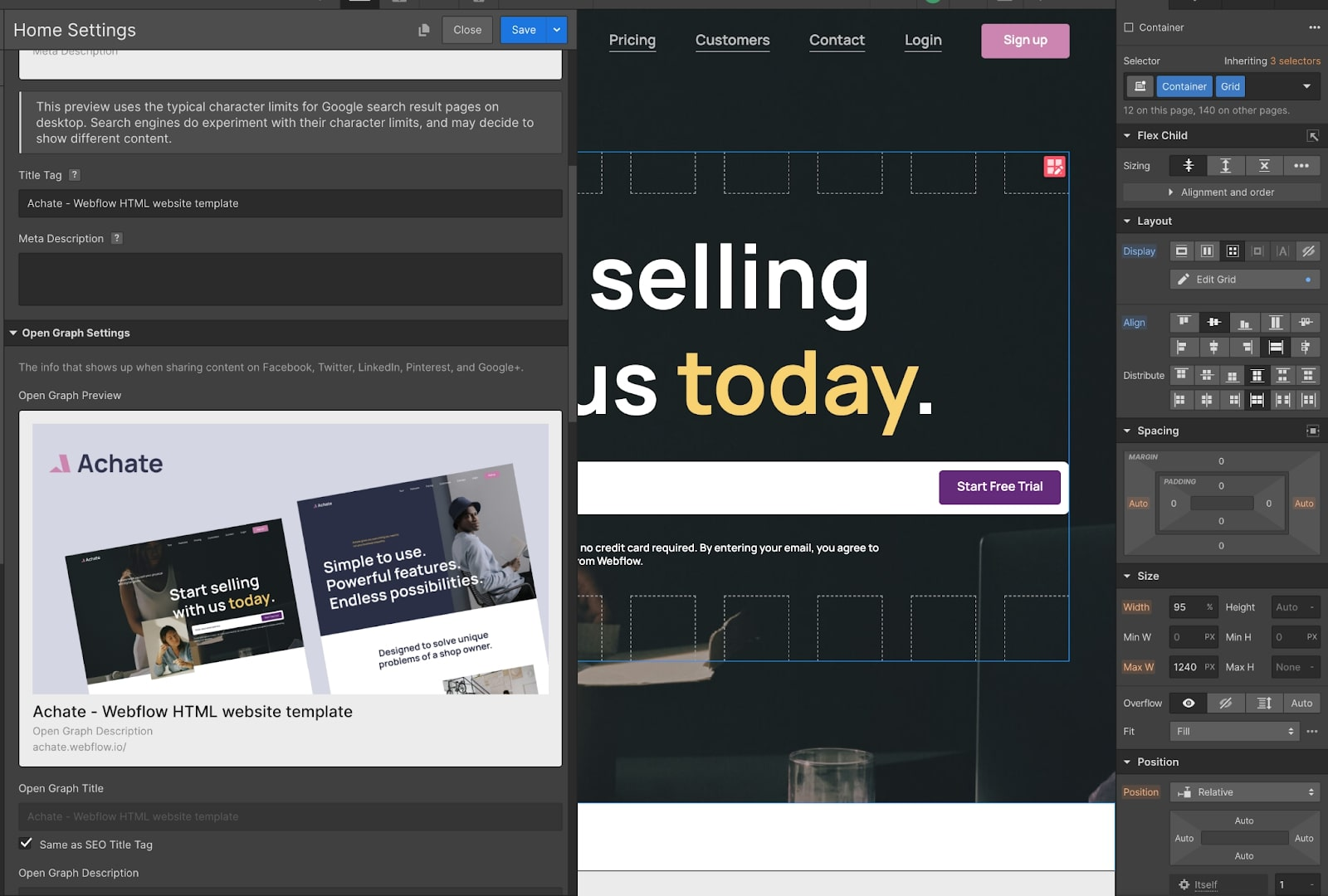 Image showing website template changes in Webflow.
