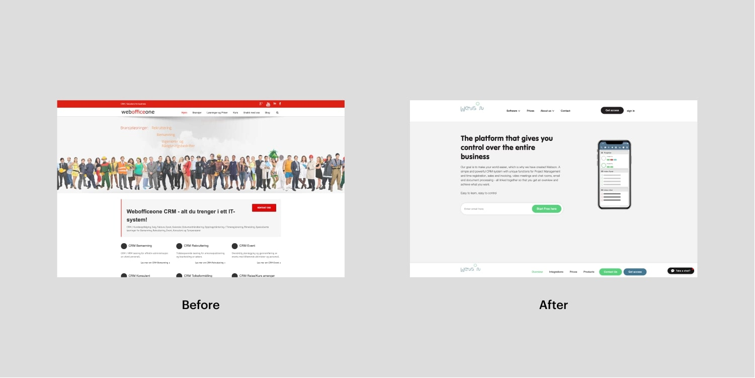 An image of Webson's website before, and after redesign.