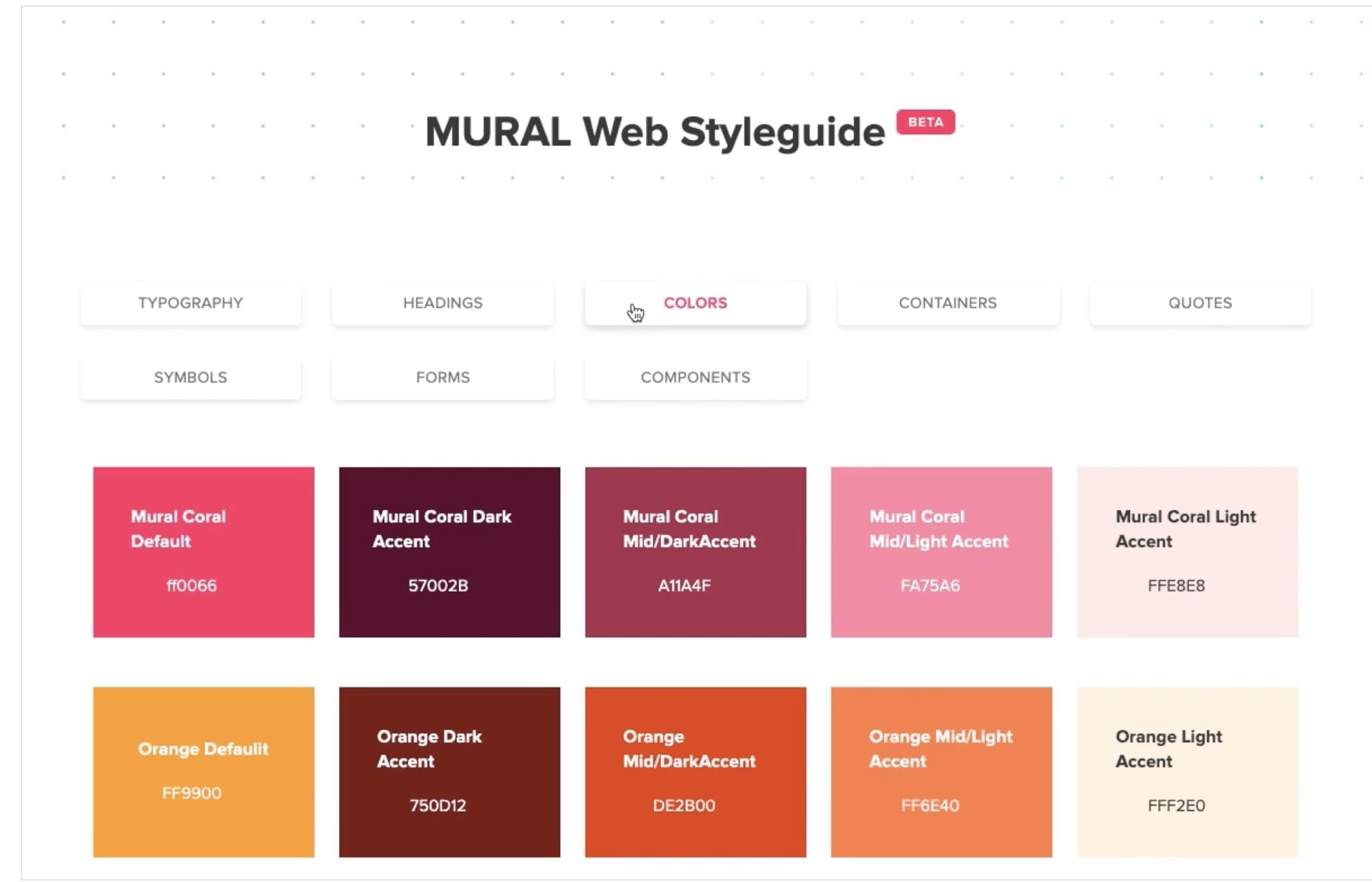 Screenshot of MURAL style guide showing brand colors.