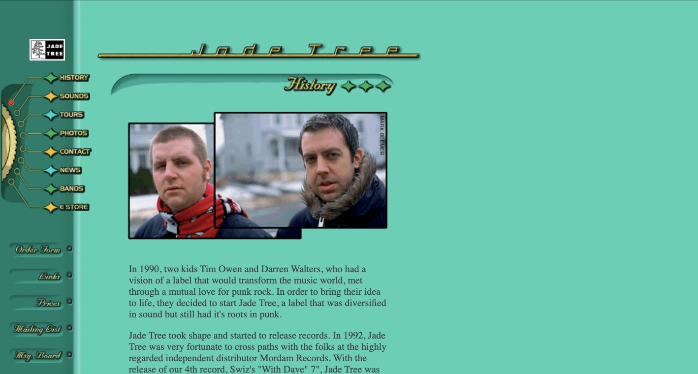 Screenshot of Jade Tree website in 1998. Skueomorphism example, showing a 1940s aesthetic with interface that looks like a Bakelite radio.