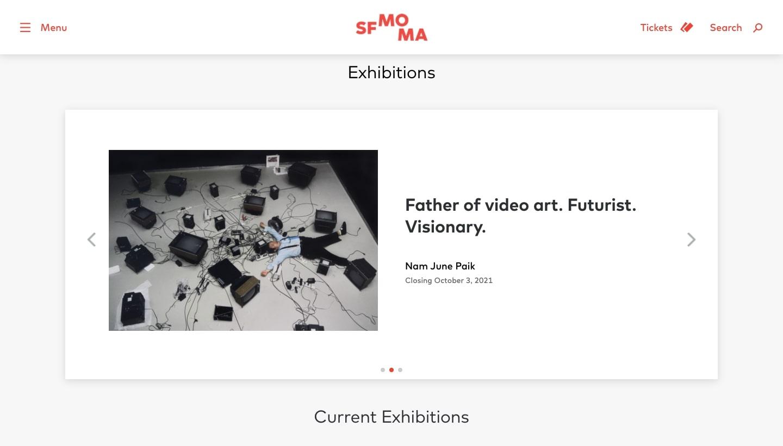 Screenshot of San Francisco Museum of Modern Art homepage