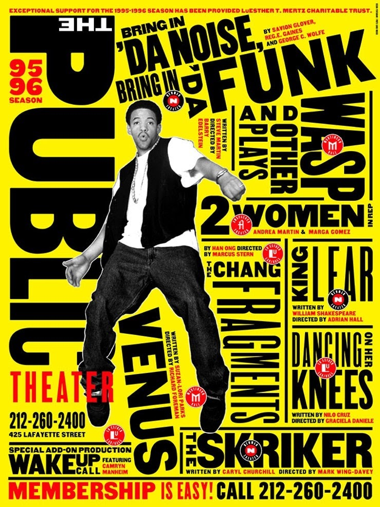 Maximalist design in poster art for The Public Theater.