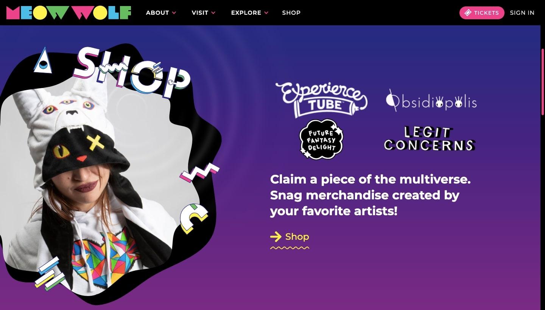 Screenshot of Meow Wolf homepage demonstrating maximalist design
