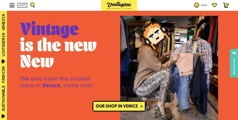 Screenshot of Vintageria homepage