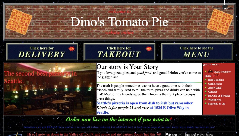 Screenshot of Dino's Tomato Pie homepage