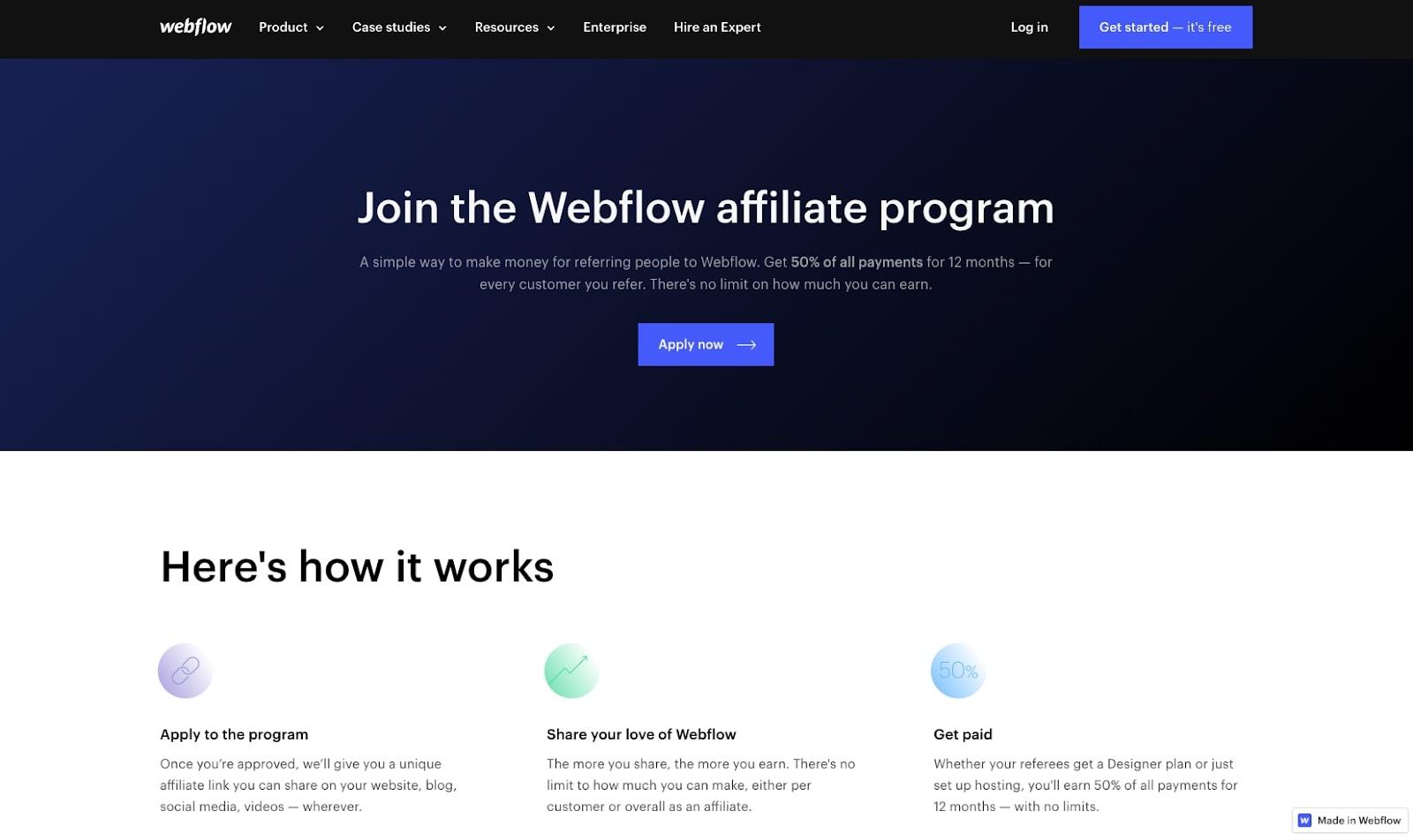 Screenshot of Webflow affiliate program homepage