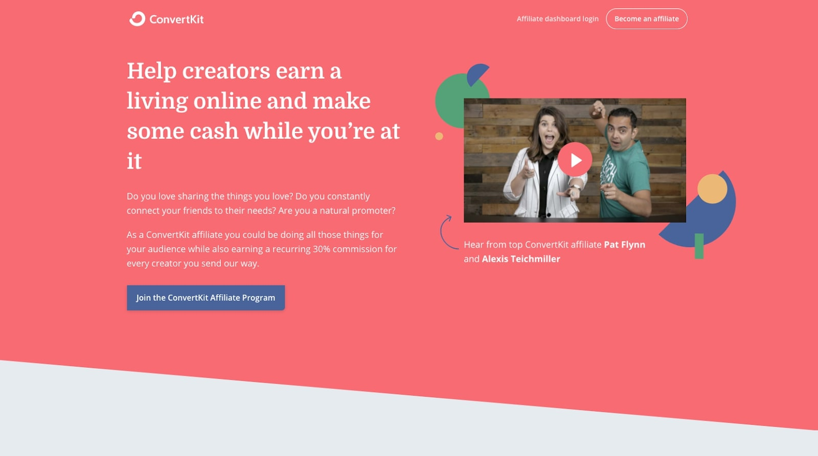 Screenshot of ConvertKit affiliate program homepage