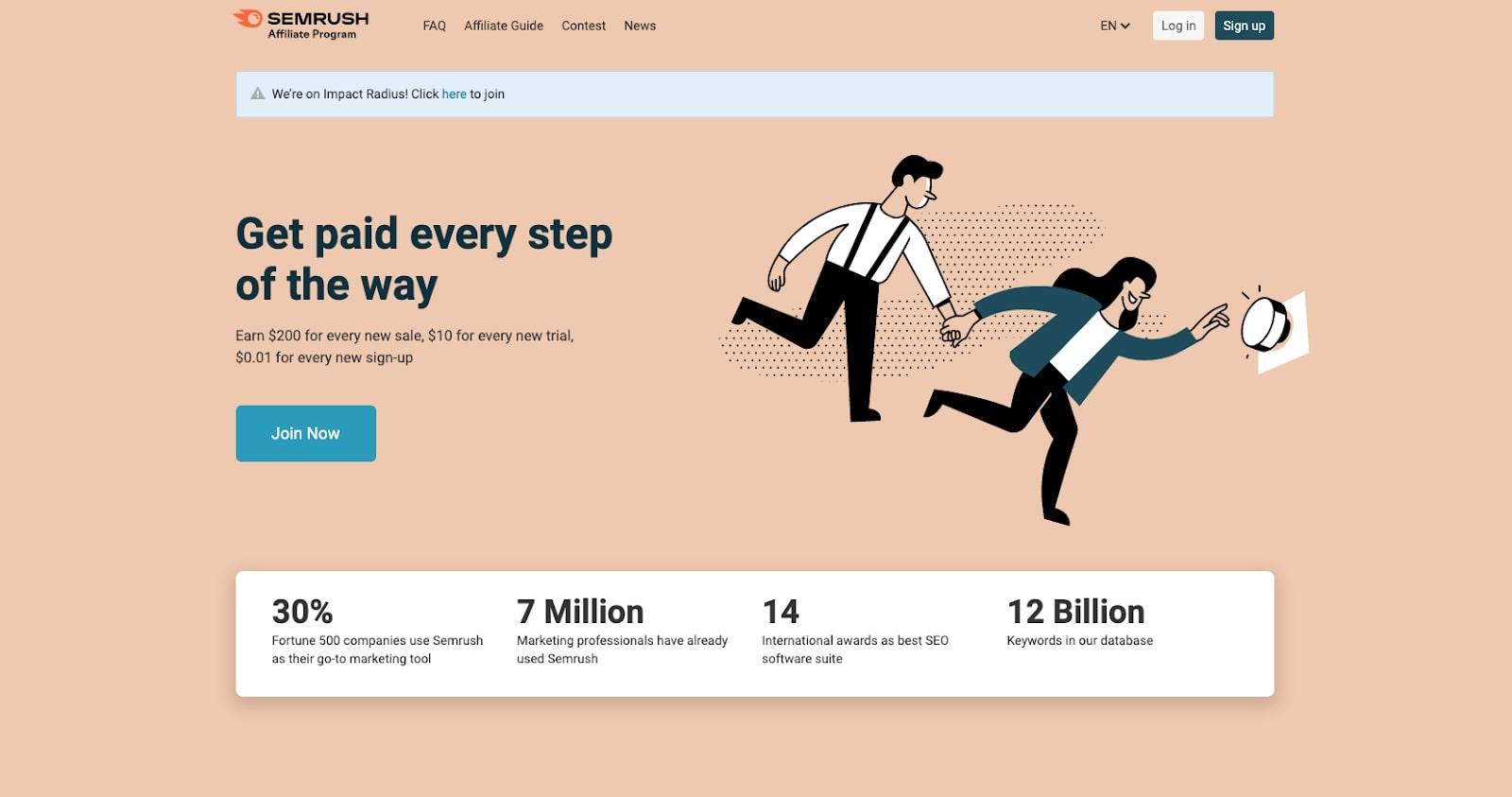 Screenshot of Semrush affiliate program website