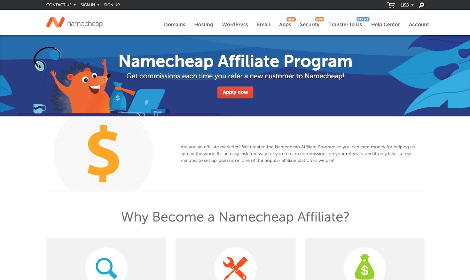 Screenshot of Namecheap affiliate program website
