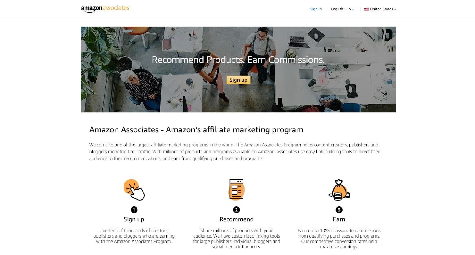 Screenshot of Amazon Associates affiliate program website