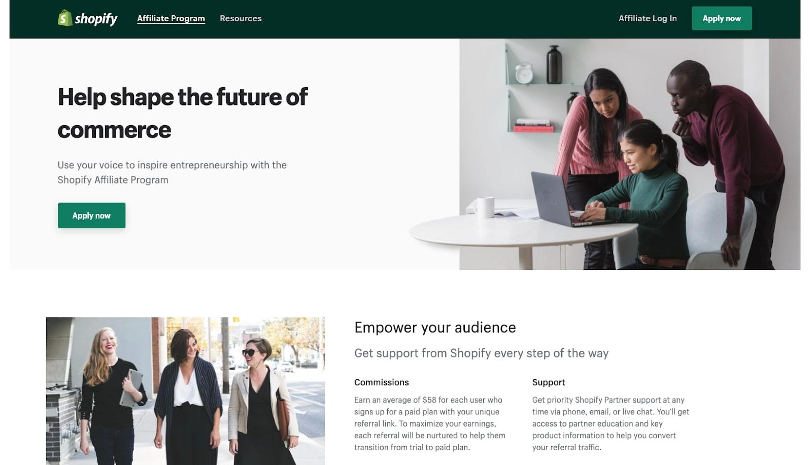 Screenshot of Shopify affiliate program website