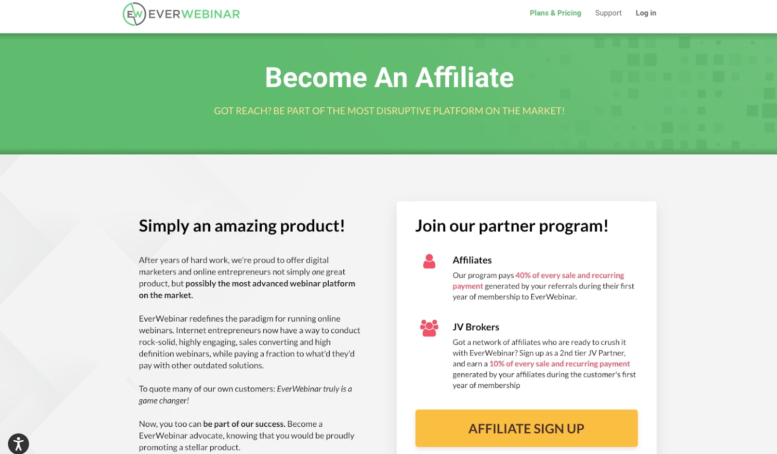 Screenshot of EverWebinar affiliate program website