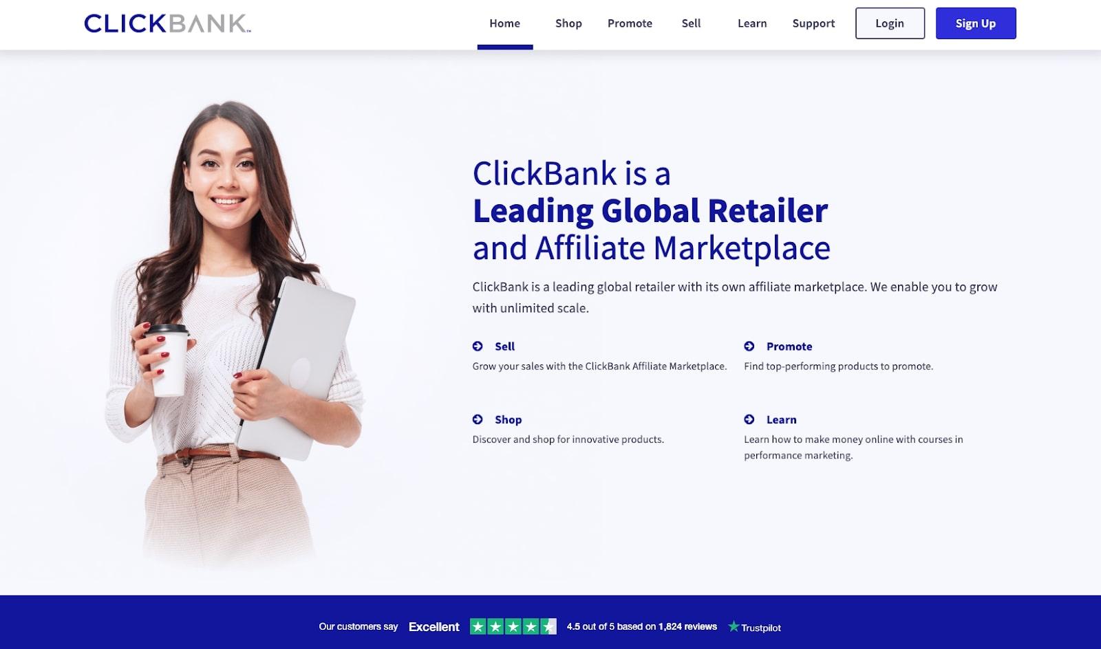 Screenshot of ClickBank affiliate program website