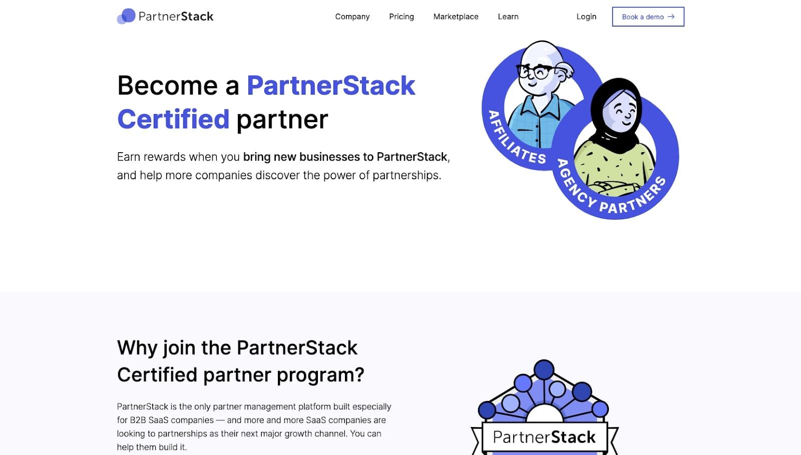 Screenshot of PartnerStack affiliate program website