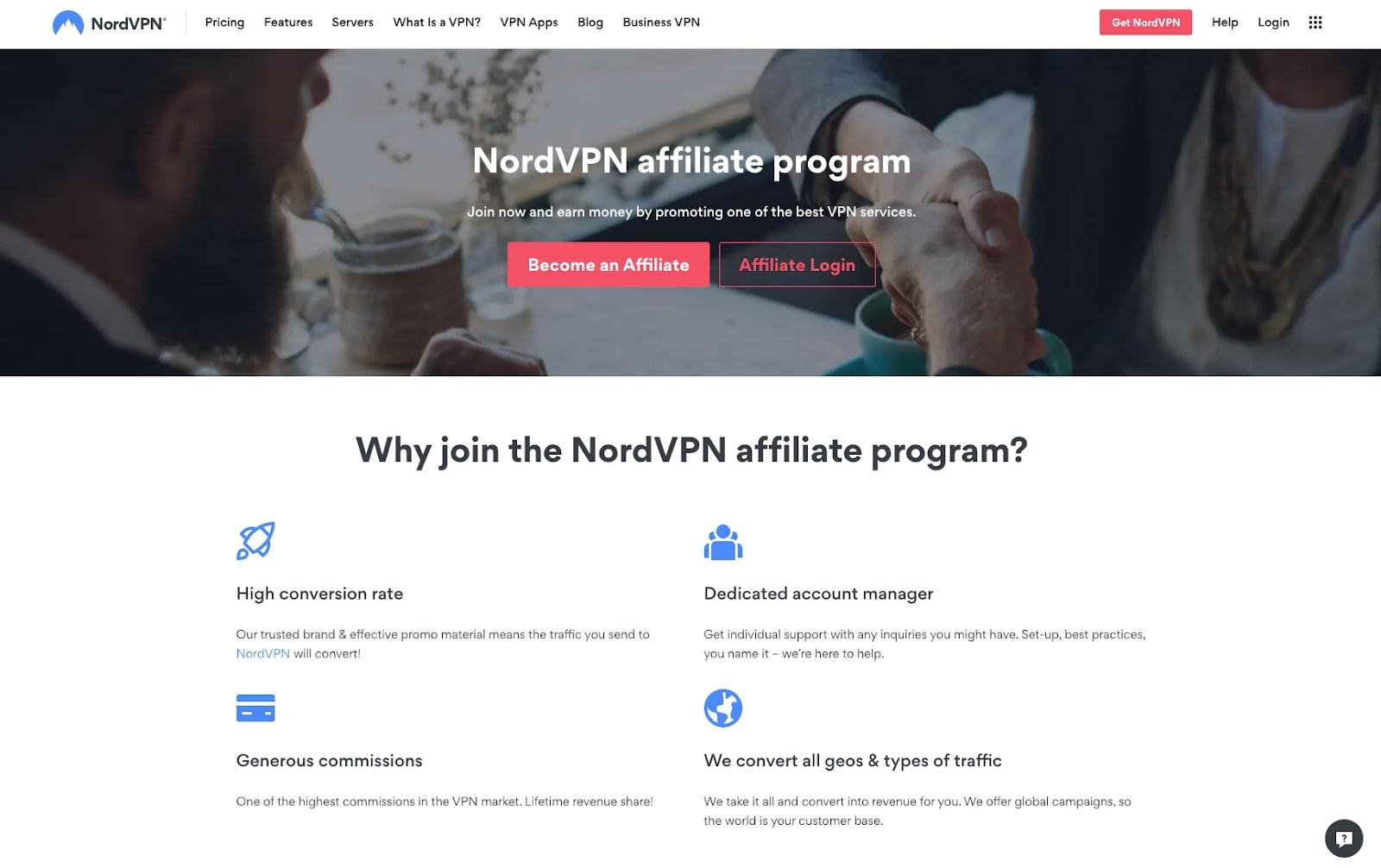 Screenshot of NordVPN affiliate program website