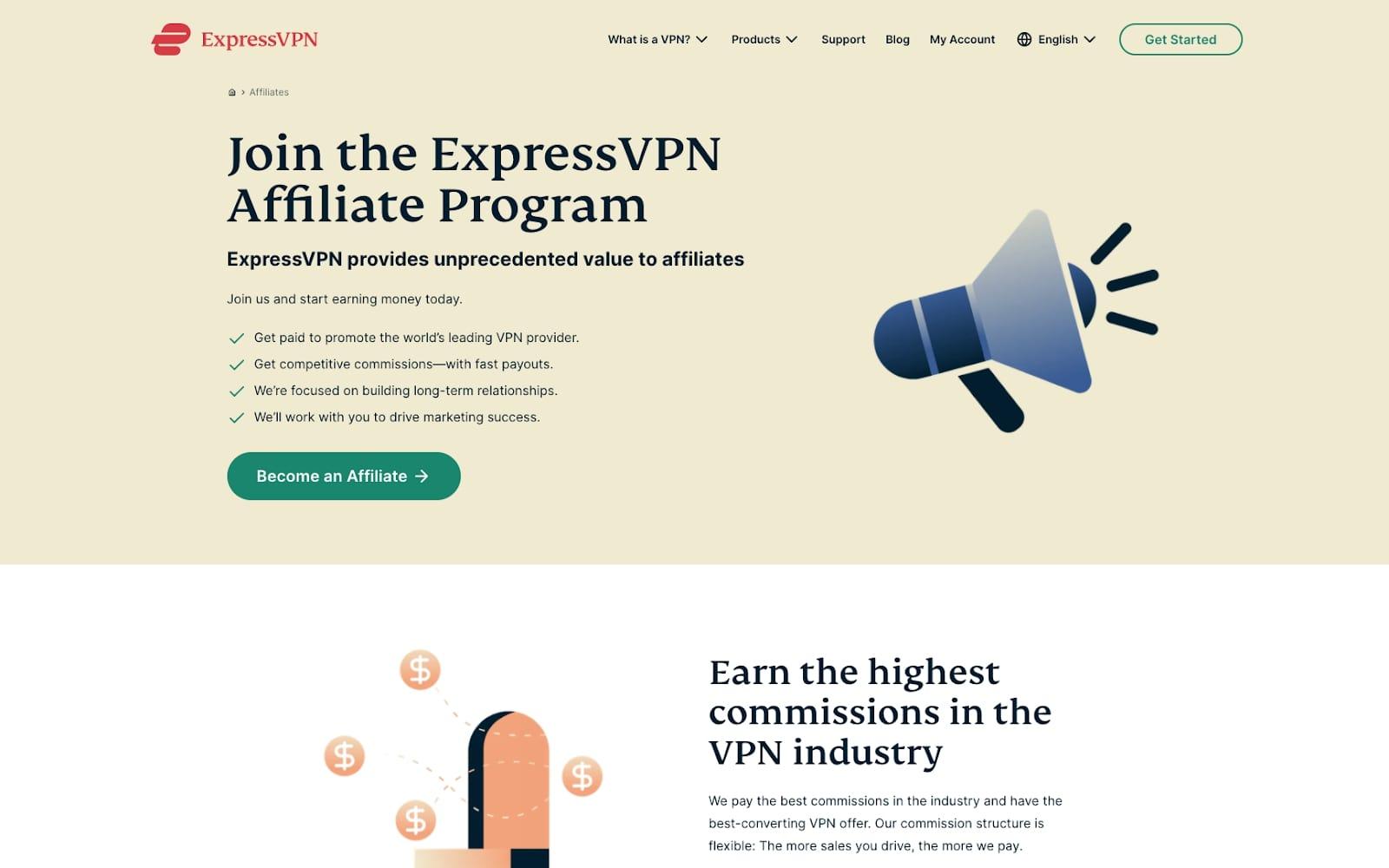 Screenshot of ExpressVPN affiliate program website