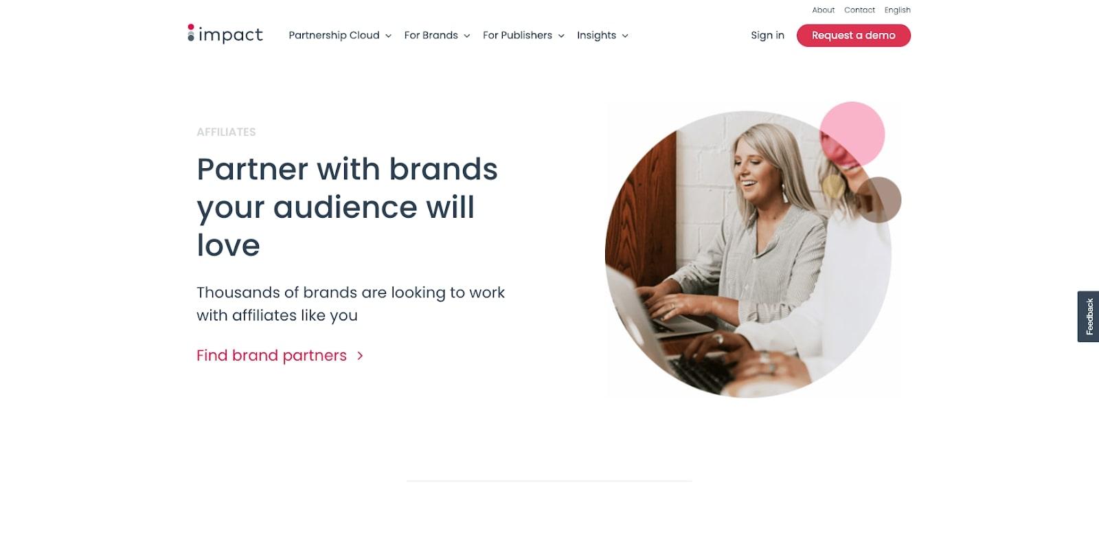 Screenshot Impact affiliate program website