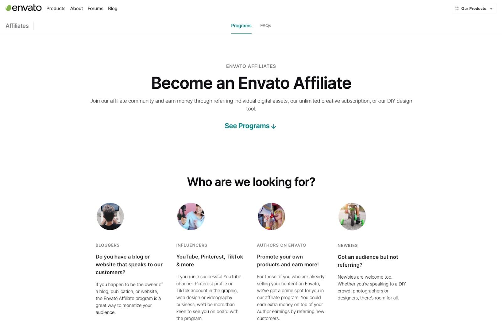 Screenshot of Envato affiliate program website