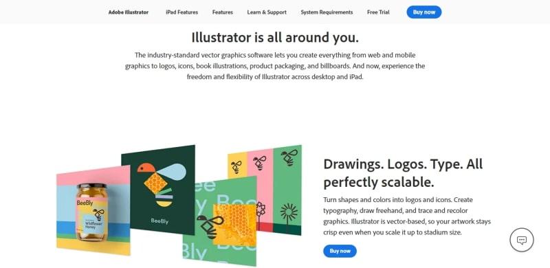 An image of Adobe illustrator's website.