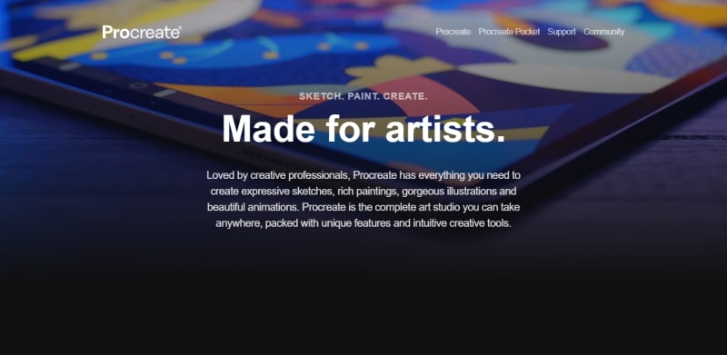 An image of the Procreate website.