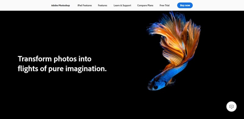 An image of the Adobe Photoshop website.