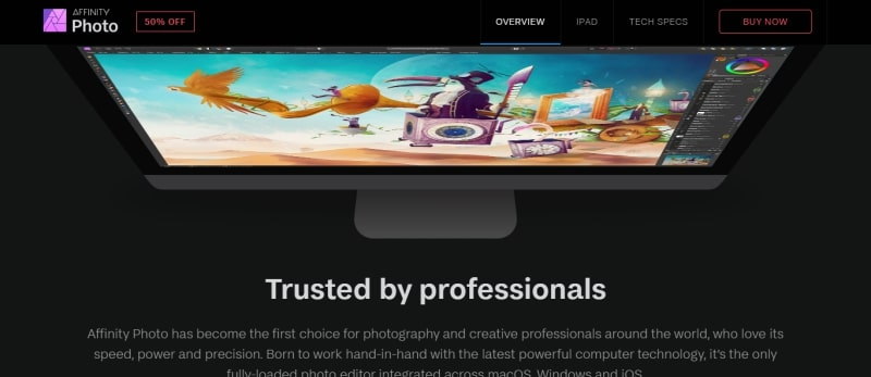 An image of the Affinity Photo website.