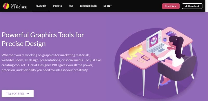 An image of the Gravit Designer website.