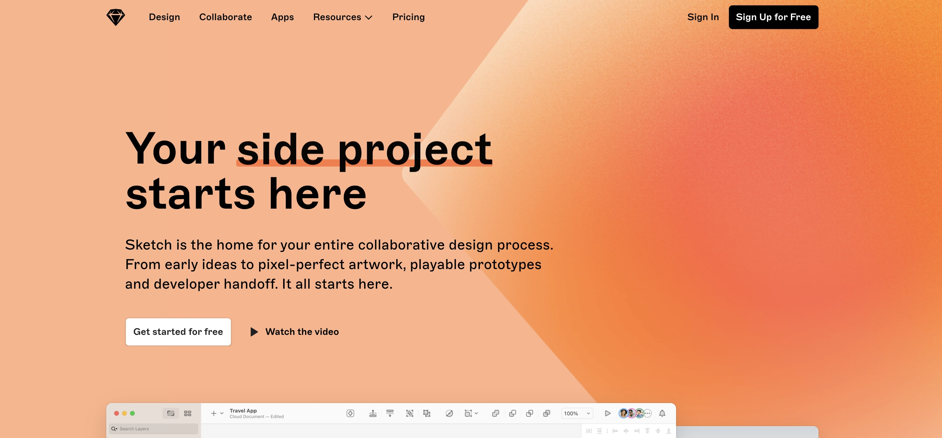 An image of the Sketch website.