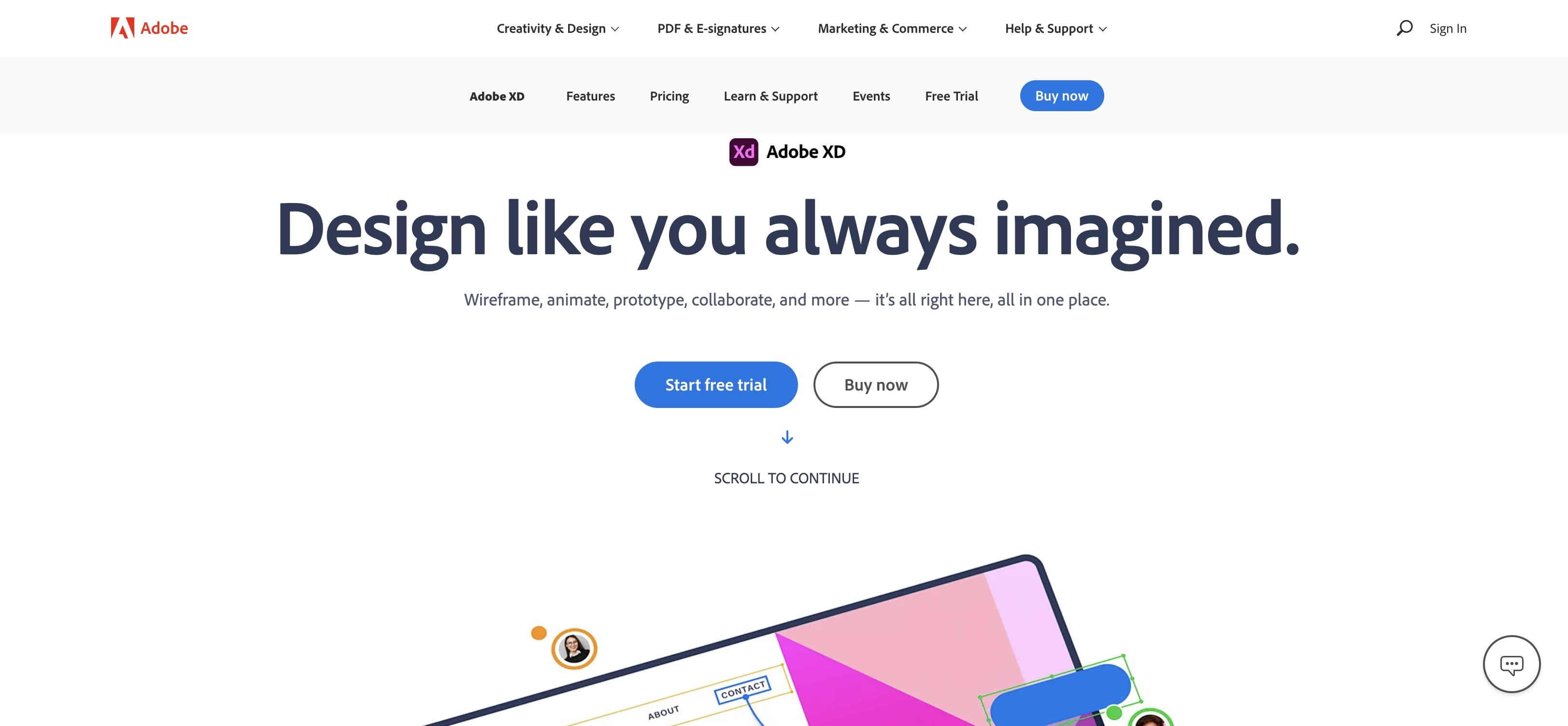 An image of the Adobe XD website.
